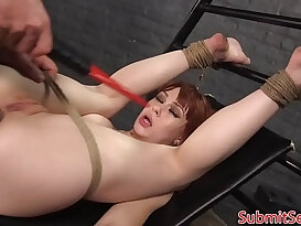 Caged bdsm sub freed for pussy fucking by dom
