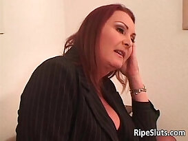 Two horny busty lesbians lick and fuck