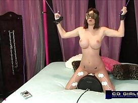 Codi Milo gets tied up and electroshock while riding the sybian