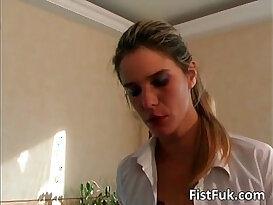 Incredible lesbian session where slut