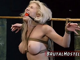 Bondage anal gang rough and blowjob swallow Big breasted blond hottie