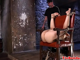 Sub tied to chair for whipping by maledom