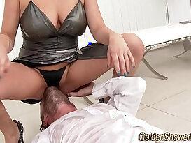Pissing slut facialized