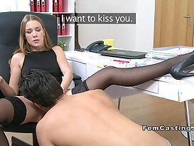 Female agent spreads her legs and gets licked