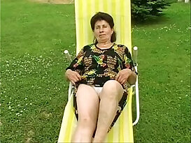 Granny Marie his ass fucked on real hard by the pool