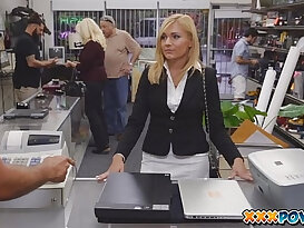 Sexy brunette MILF anal banged and moans loud in pawn shop!