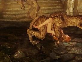Monsters, demons, and beasts ravish Skyrim big breasted girl
