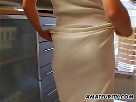 Hot amateur asian Milf fucked in her kitchen