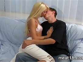 Blonde russian teen takes hard cock in her hungry pussy