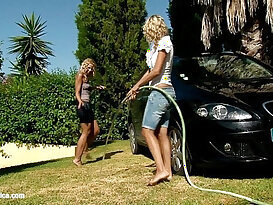 Automobile Amour by Sapphic Erotica lesbian scene in office slut girl with Lena and Al