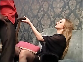 Sweet blonde is about to be buggered by a huge ass black big cock