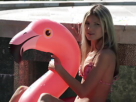 Poolside pounding for a teen