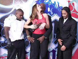 Bukkake. White girl sucking 7 black cocks